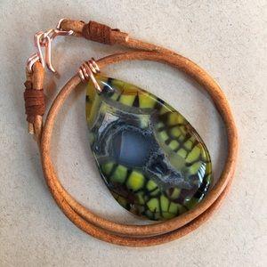 """🌴Unique Veins 16"""" Agate Leather Choker Necklace"""